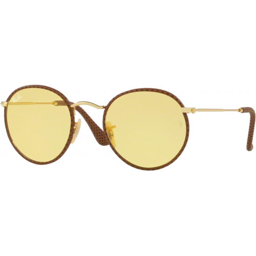 Ray ban round craft leather brown yellow photochromic for Ray ban round craft