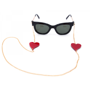 Glasses strap gold plated Red Heart