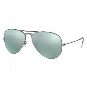 Ray-Ban Aviator Large Flash Lens Gunmetal Green Silver Mirror
