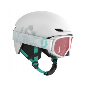 Combo Scott Casque Keeper 2 + Masque Witty Jr Blanc/Vert Menthe