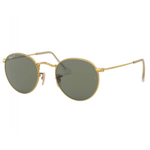 Ray-Ban Round Metal Shiny Gold Green G-15 Polarized