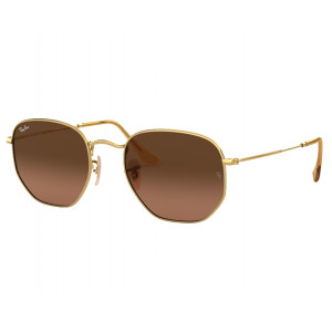 Ray-Ban Hexagonal Flat Lenses Gold Marron Dégradé