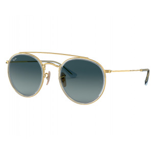 Ray-Ban Round Double Bridge Doré Bleu Dégradé