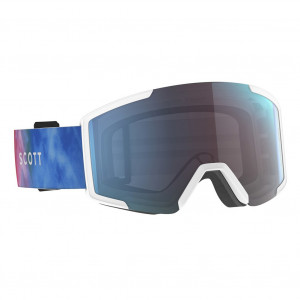Scott Ski Goggle Shield Cyan Blue/Pink Enhancer Blue Chrome