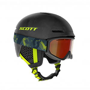 Combo Scott Helmet Track + Goggle Fact Storm Grey/Ultralime Yellow