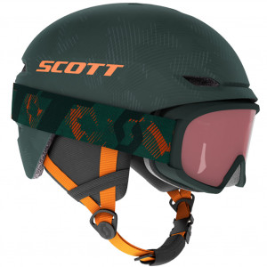 Combo Scott Helmet Keeper 2 + Goggle Witty Jr Sombre Green/Pumpkin Orange
