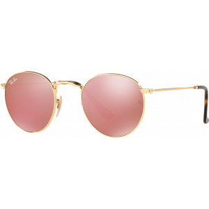 Ray-Ban Round Metal Flat Lenses Doré Cuivre Flash
