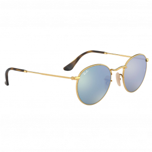 Ray-Ban Round Metal Flat Lenses Doré Flash Argent