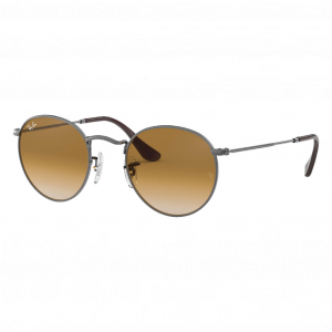Ray-Ban Round Metal Flat Lenses Gun Marron Clair Dégradé