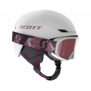 Combo Scott Helmet Keeper 2 + Goggle Witty Jr White Pearl/Cassis Pink