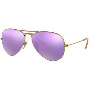 Ray-Ban Aviator Large Flash Bronze-Cuivré Lilas Miroité Polarisé