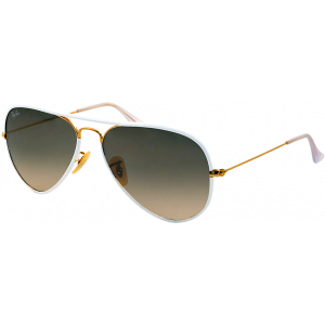 Ray-Ban Aviator Full Color Blanc/Doré Gris Dégradé