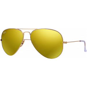 Ray-Ban Aviator Large Flash Lens Matte Gold Brown Gold Mirror