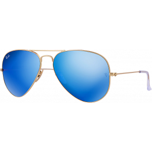 Ray-Ban Aviator Large Flash Doré Mat Bleu Miroité Polarisé