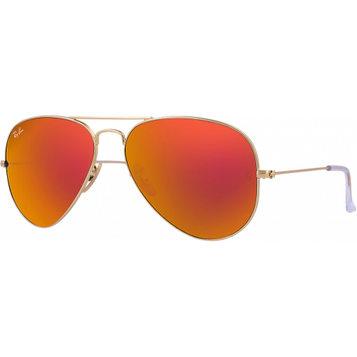 Ray-Ban Aviator Large Flash Lenses Matte Gold Red Mirror Polarized
