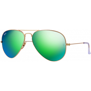 Ray-Ban Aviator Large Flash Lens Matte Gold Polar Green Mirror