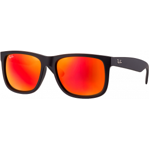 Ray-Ban Justin Rubber Black Brun Miroité Orange