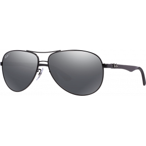 Ray-Ban RB8313 Medium Black Grey Silver Mirror Polarized