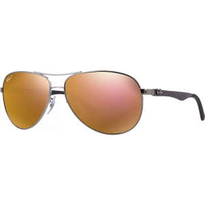 Ray-Ban RB8313 Medium Gunmetal Brun Miroité Doré Polarisé