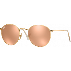 Ray-Ban Round Metal Doré Brun Rose Mirroité