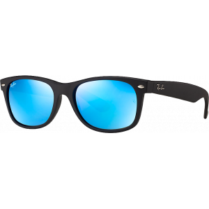 Ray-Ban New Wayfarer Black Rubber Bleu Miroité