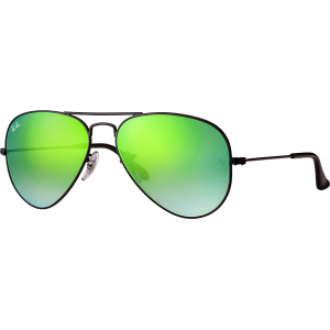 Ray-Ban Aviator Flash Lenses Black Green Gradient Mirror