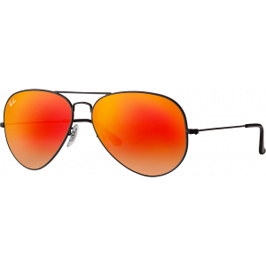 Ray-Ban Aviator Large Noir Orange Miroité Dégradé
