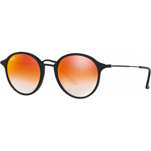 Ray-Ban Round Fleck Noir Orange Dégradé Miroité