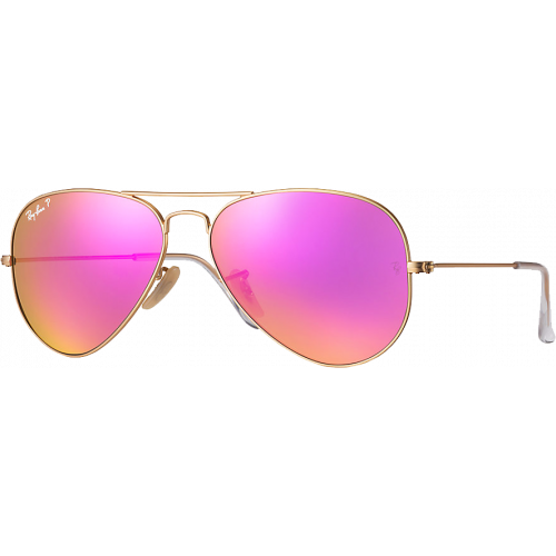 Ray-Ban Aviator Large Flash Doré Mat Fushia Miroité Polarisé