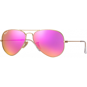 Ray-Ban Aviator Large Flash Lenses Matte Gold Cyclamen Mirror Polarized