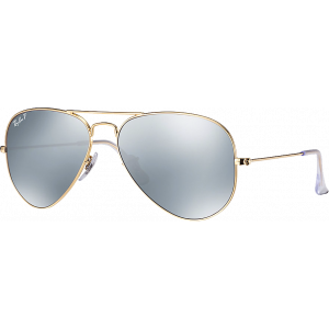 Ray-Ban Aviator Large Flash Lenses Matte Gold Polar Grey Mirror