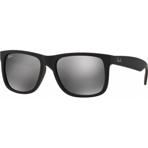 Ray-Ban Justin Medium Rubber Black Gris Miroité Argent