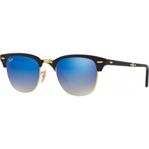 Ray-Ban Clubmaster Folding Matte Black Blue Mirror Gradient