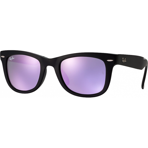 57db132071 Ray-Ban Wayfarer Folding Flash Lenses Matte Black Grey Mirror Lilac - Ray-Ban  Wayfarer