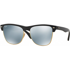 Ray-Ban Clubmaster Oversized Shiny Black Green Mirror Silver