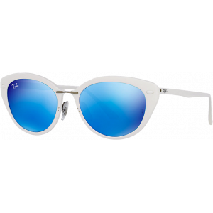 Ray-Ban RB4250 Light Ray Blanc Brillant Bleu Miroité