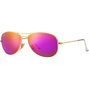 Ray-Ban Cockpit Flash Lenses Matte Gold Cyclamen Mirror