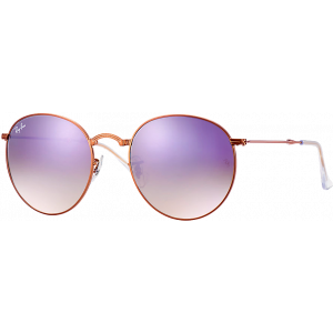 Ray-Ban Round Folding Shiny Bronze Lilac Mirror Gradient