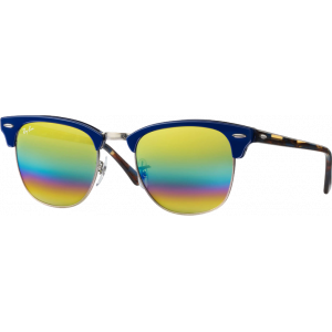 Ray-Ban Clubmaster Medium Blue Gold Rainbow Flash