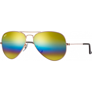 Ray-Ban Aviator Mineral Flash Lenses Large Bronze Gold Rainbow Flash