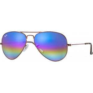 Ray-Ban Aviator Mineral Flash Lenses Large Bronze Blue Rainbow Flash