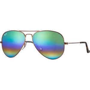Ray-Ban Aviator Mineral Flash Lenses Large Bronze Green Rainbow Flash