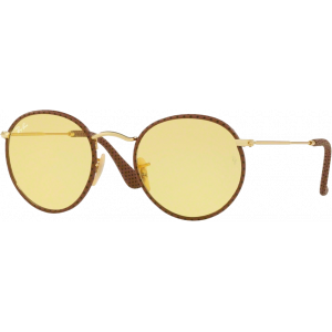 Ray-Ban Round Craft Leather Brown Yellow Photochromic