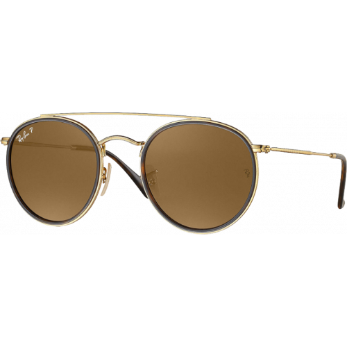 Ray-Ban Round Double Bridge Doré Brun B-15 Polarisé