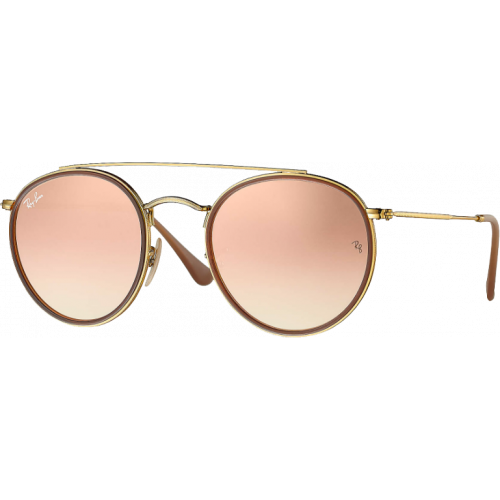 Ray-Ban Round Double Bridge Doré Cuivre Dégradé Flash