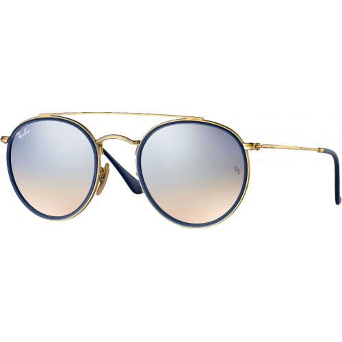 Ray-Ban Round Double Bridge Doré Argent Flash Dégradé