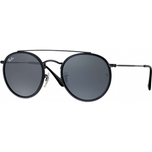 Ray-Ban Round Double Bridge Noir Gris Bleu